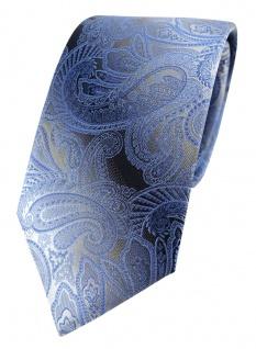 TigerTie Designer Seidenkrawatte in blau hellblau grau silber Paisley gemustert