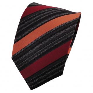 TigerTie Seidenkrawatte orange rotorange anthrazit schwarz gestreift - Krawatte