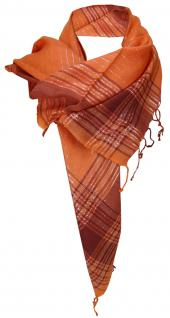 Halstuch orange silber mit Fransen - Glitzerfäden eingearbeitet - 100 x 100 cm