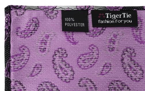 TigerTie Designer Einstecktuch in magenta rosa grausilber Paisley gemustert - Vorschau 2