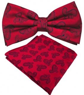 schöne Designer Seidenfliege + Einstecktuch Seide rot rubinrot blau Paisley