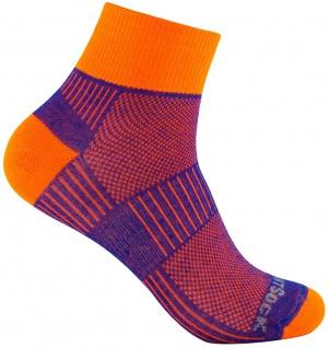 WRIGHTSOCK Profi Sportsocke Coolmesh II orange-royal - anti-blasen Socken Gr.L