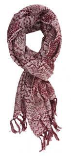 TigerTie Schal in weinrot grau gemustert mit Fransen - 170 x 50 cm