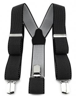 TigerTie Unisex Hosenträger mit 3 extra starken Clips - silber schwarz gepunktet