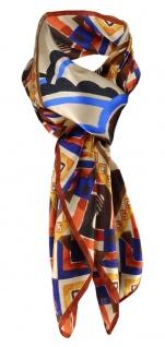Halstuch in braun beige blau gold orange rotbraun Satin gemustert - 95 x 95 cm