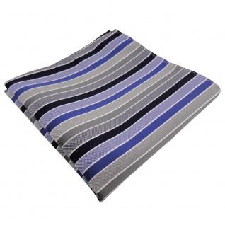 schönes Einstecktuch in blau dunkelblau grau silber gestreift - Tuch Polyester