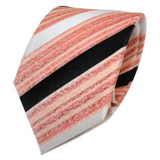 TigerTie Seidenkrawatte orange lachs schwarz weiß gestreift - Krawatte Seide Tie