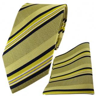 TigerTie Seidenkrawatte + Seideneinstecktuch gelb schwarz silber gestreift
