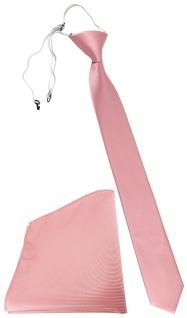 XXL TigerTie Sicherheits Krawatte + Einstecktuch in rosa altrosa Uni Rips