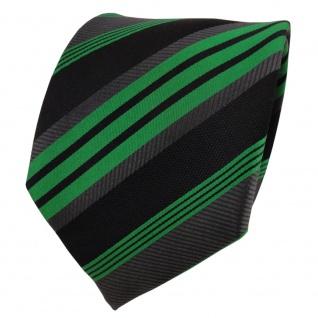 TigerTie Designer Seidenkrawatte grün schwarz anthrazit gestreift - Krawatte