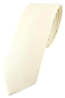 schmale TigerTie Krawatte elfenbein Uni - 100% Baumwolle - Krawattenbreite 6 cm