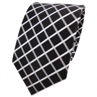 Designer Krawatte schwarz grau weiß silber kariert - Schlips Binder Tie
