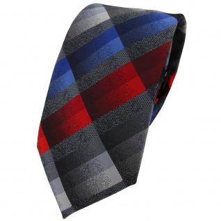 Modische TigerTie Krawatte in rot anthrazit blau silber grau kariert