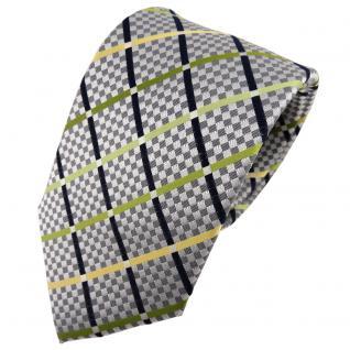 TigerTie Seidenkrawatte silber grün gelb schwarz kariert - Krawatte Seide Tie