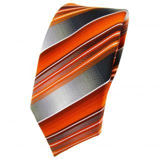 schmale TigerTie Krawatte orange anthrazit silber grau gestreift - Tie Binder