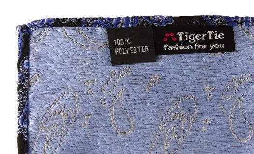 TigerTie Designer Einstecktuch in blau schwarz silber Paisley - Gr. 30 x 30 cm - Vorschau 3