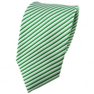 TigerTie Seidenkrawatte grün hellgrün silber gestreift - Krawatte Seide Binder