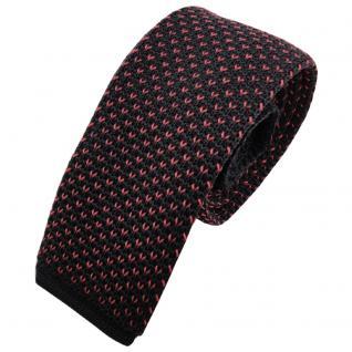 Schmale Strickkrawatte anthrazit rosé rosa gemustert - Krawatte Polyester Tie