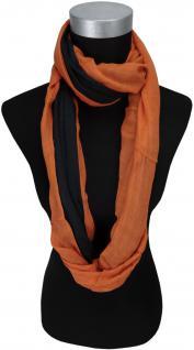 TigerTie Loop Schal orange schwarz einfarbig Uni - Gr. 140 x 50 cm - Rundschal