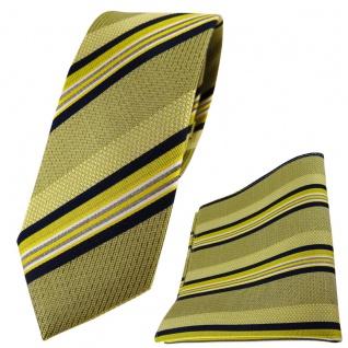 schmale TigerTie Seidenkrawatte + Einstecktuch gelb schwarz weiss gestreift