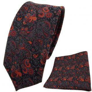 schmale TigerTie Krawatte + Einstecktuch orange braun schwarz grau paisley