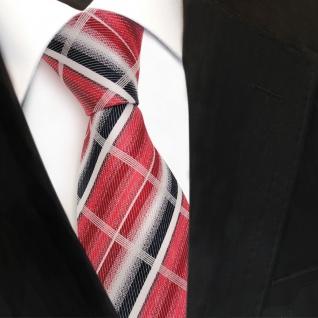 TigerTie Seidenkrawatte rot karminrot weiss blau kariert - Krawatte Seide Tie