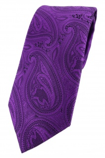 TigerTie Designer Krawatte in lila schwarz Paisley gemustert
