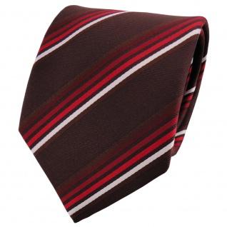TigerTie Satin Krawatte braun dunkelbraun rot bordeaux weiß gestreift - Binder
