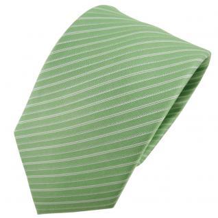 Hennes cologne Designer Seidenkrawatte grün silber gestreift - Krawatte Seide