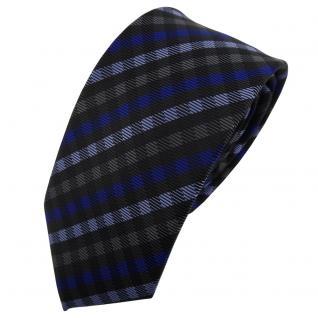 Schmale TigerTie Designer Krawatte blau anthrazit schwarz kariert - Schlips Tie