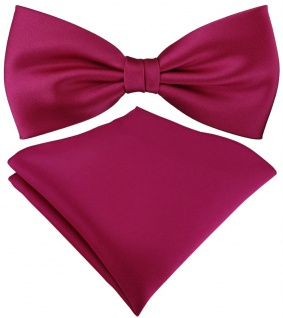 TigerTie Satin Fliege + TigerTie Einstecktuch in pink Uni Einfarbig + Box