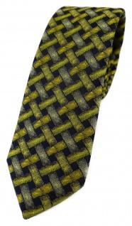 schmale TigerTie Designer Krawatte in gelb schwarz - Motiv Flechtmuster