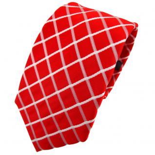 Enrico Sarto Seidenkrawatte rot leuchtrot knallrot weiß kariert - Krawatte Seide