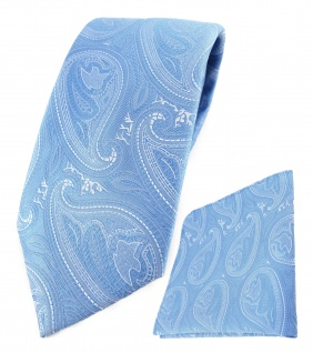 TigerTie Designer Krawatte + Einstecktuch hellblau blau silber Paisley gemustert