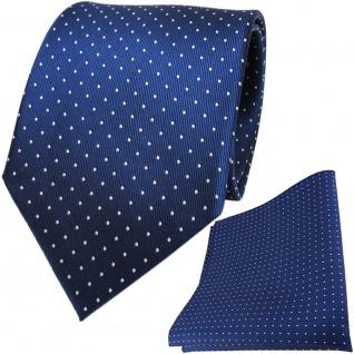 TigerTie Seidenkrawatte + Seideneinstecktuch in blau saphirblau silber gepunktet