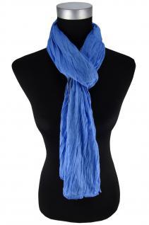 gecrashter Schal in blau grau gemustert - Gr. 180 x 50 cm - 100% Baumwolle