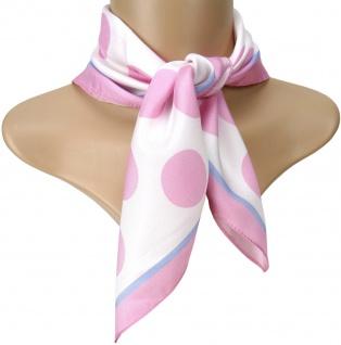 TigerTie Seiden Nickituch Satin in rosa hellblau weiss gepunktet - 50 x 50 cm