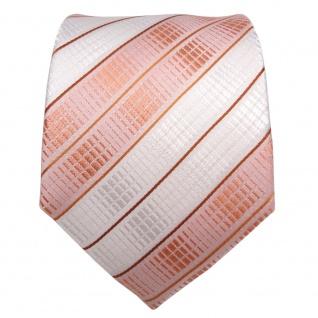 TigerTie Seidenkrawatte orange lachs hautfarben weiß gestreift - Krawatte Seide - Vorschau 2