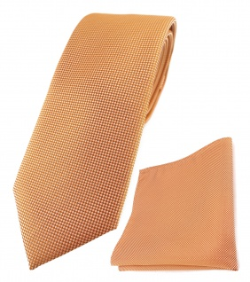 TigerTie Krawatte + Einstecktuch in lachs fein gepunktet - Breite 7 cm