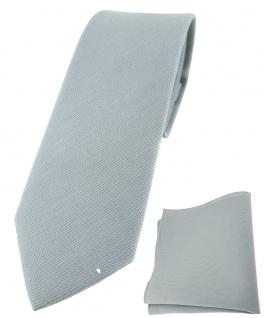 schmale TigerTie Krawatte + Einstecktuch aus 100% Baumwolle in grau einfarbig