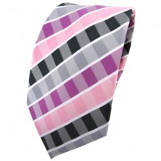 TigerTie Krawatte rosa rotviolett grau anthrazit weiß gestreift - Binder Tie