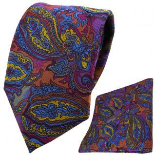 TigerTie Designer Krawatte + Einstecktuch violett gold blau kupfer Paisley
