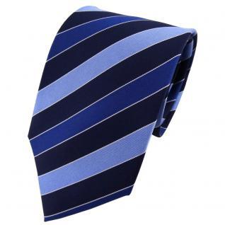 TigerTie Seidenkrawatte blau dunkelblau silber gestreift - Krawatte Seide Tie