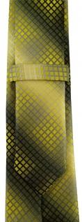schmale TigerTie Designer Krawatte in gelb gold silber grau schwarz kariert - Vorschau 3