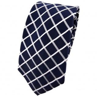 Enrico Sarto Seidenkrawatte blau dunkelblau weiß silber kariert - Krawatte Seide