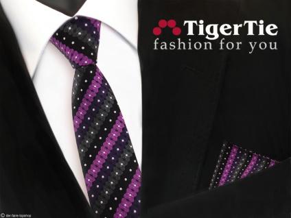 schmale TigerTie Krawatte + Einstecktuch lila schwarz anthrazit silber gestreift