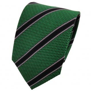 TigerTie Seidenkrawatte grün schwarz grau gestreift - Krawatte Seide Binder Tie
