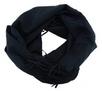 Schal in schwarz Uni mit Fransen - Gr. 180 x 20 cm