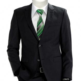 TigerTie Krawatte grün smaragdgrün silber anthrazit grau gestreift - Tie Binder - Vorschau 3