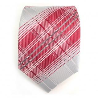 Designer Seidenkrawatte in rot grau silber weiss kariert - Krawatte 100 % Seide - Vorschau 2